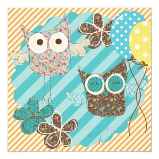 Hoot Owls Customized Birthday Invitation  #owls #invitations #birthdays