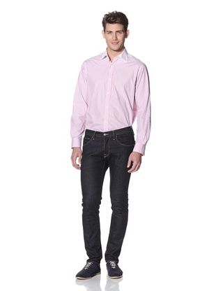 Hart Schaffner Marx Men's Contrast Collar Striped Spread Collar Dress Shirt