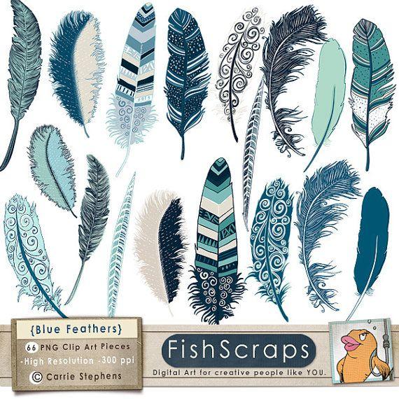 50% Sale - Ocean Blue Feather Clip Art - Indigo Summer - Digital ClipArt - Feather Illustration - Digital - Navy, Turqoise