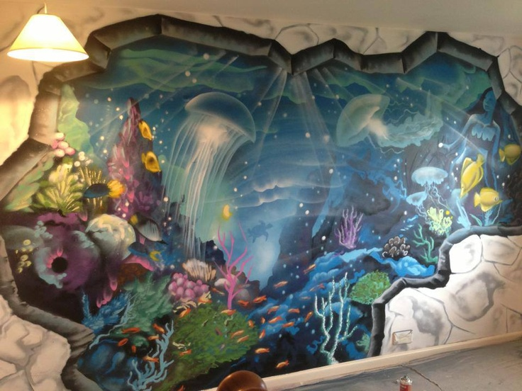 Client private playroom graffiti mural graffiti for Underwater mural ideas