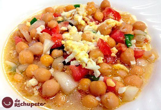 Receta de ensalada de garbanzos con verduras y bacalao en vinagreta | Cantabria | Spain