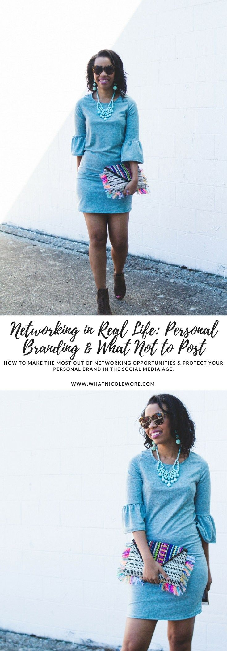 Kentucky blogger, What Nicole Wore, breaks down how to make the most out of networking opportunities, protect your personal brand in the social media age, what questions to ask, and what you shouldn't be posting on social media. // pink blush boutique, baublebar clutch, networking tips for beginners, personal branding tips, social media guidelines, affordable statement jewelry