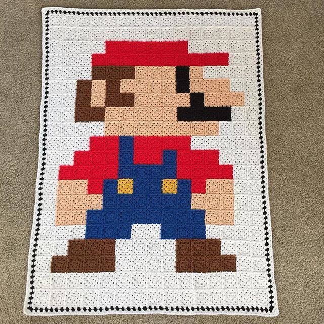 Super Mario granny crochet pixel blanket by suregal27