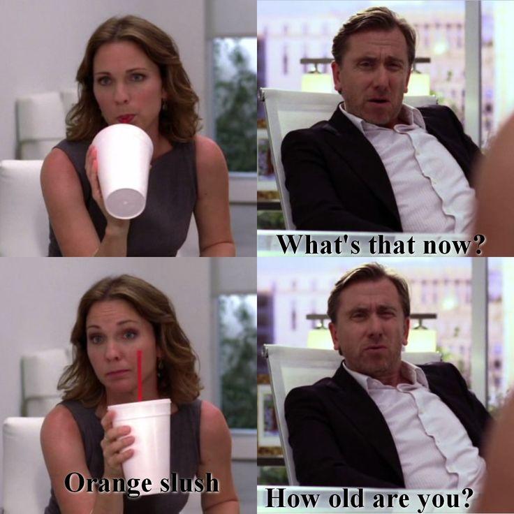 Lie To Me S01E01 Cal Lightman Gillian Foster Orange Slush How old are you ?