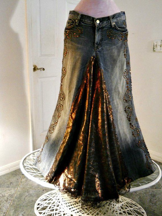 Copper Lace jean skirt bronze metallic lace rhinestones Seven for All Mankind bohemian ballroom Renaissance Denim Couture Made to Order
