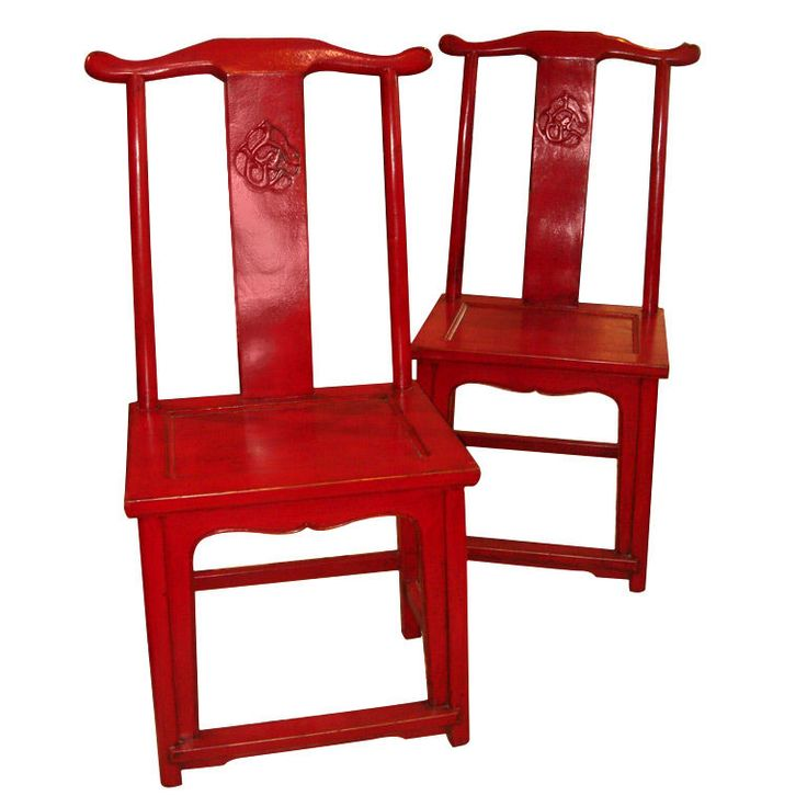 Pair Of Chinese Red Lacquered Chairs