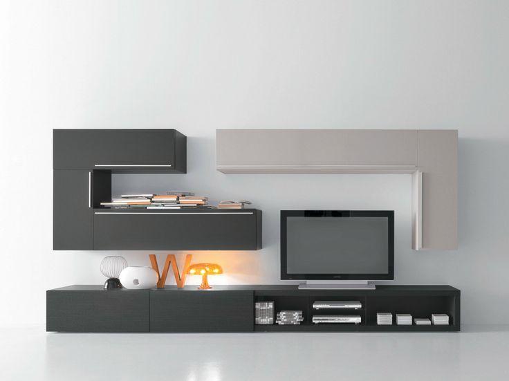 Mueble modular de pared composable con soporte para tv for Mueble soporte tv