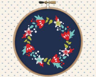 Floral wreath cross stitch pattern pdf instant download от Fuzzy36