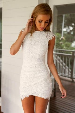 White Lace High Neckline Dress with Double Overlay Skirt - Miladies.net