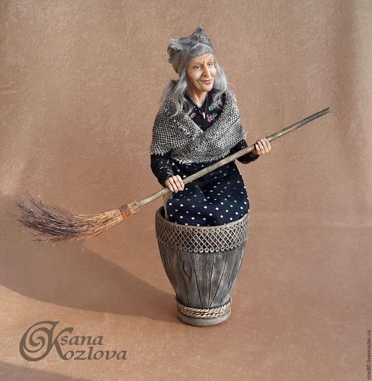 Купить Баба Яга в ступе - темно-серый, баба яга, баба-яга