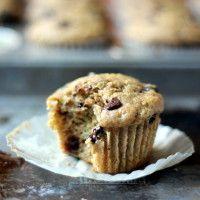 Skinny Zucchini Banana Chocolate Chip Muffins {healthy, low-fat} | Ambitious Kitchen