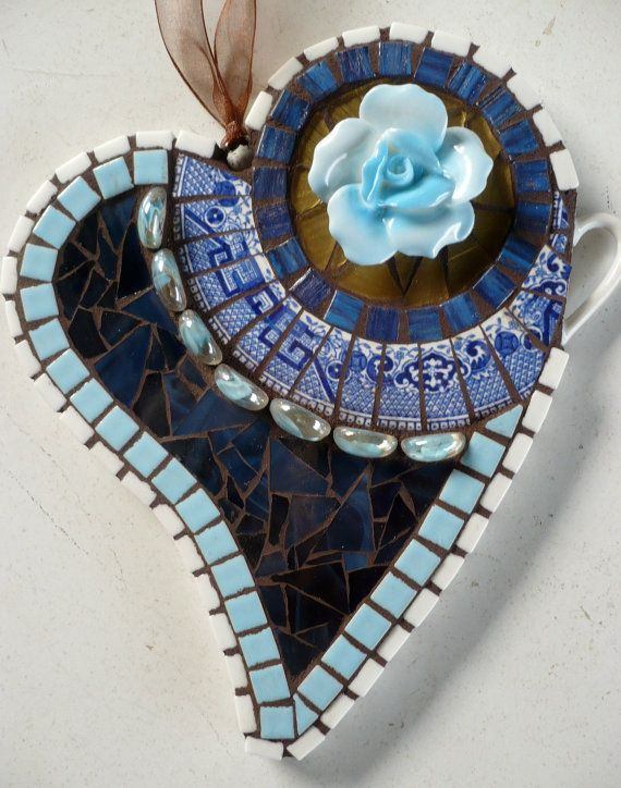 MOSAIC heART in blue & white with a rose by mosaicsbysusan on Etsy, $44.00