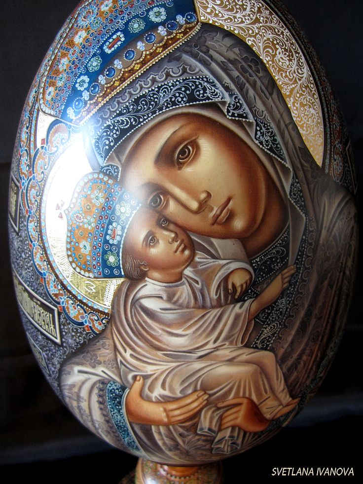 Virgin Mary Of Pochaev - hand painted Easter Egg (detail).  http://www.russianfineart.co/catalog/prod.php?productid=18183  Materials: linden, watercolors, white gouache, lacquer, copper-zinc alloy, leaf gold. Master: Ivanova Svetlana