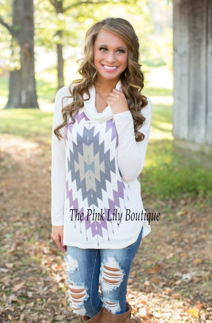 The Pink Lily Boutique - Aztec Kaleidoscope Cowl Neck Tunic , $39.00 (http://thepinklilyboutique.com/aztec-kaleidoscope-cowl-neck-tunic/)
