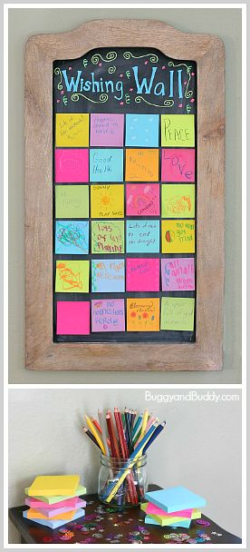 Create a wishing wall for New Year's Eve! Perfect activity for kids and family! ~ BuggyandBuddy.com