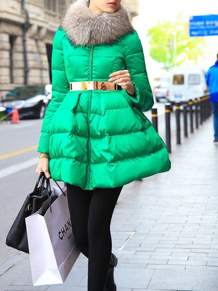 Green Paneled White Goose Feather Down Coat
