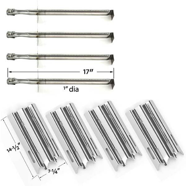 4 Pack Replacement Kit For Vermont Castings, CF9030, CF9050, CF9055 3A, CF9055 3B, CF9056, CF9080, CF9085, CF9085 3A, CF9085 3B, CF9086, Experience, Gas Grill Models - 4 Stainless Burners and 4 Heat Shields