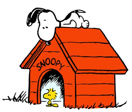Snoopy on Top of His Doghouse With Woodstock Sitting in Doorway of the Doghouse