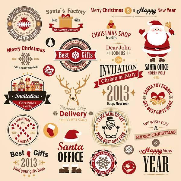 Different vintage Christmas labels elements vector set 01