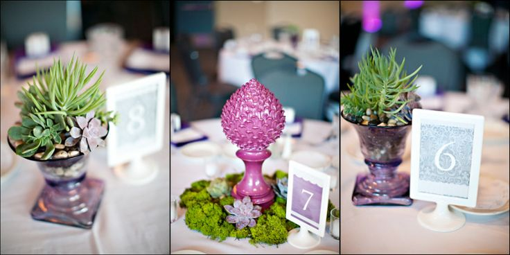 Non floral centerpieces. Use air plants, succulent in eclectic vase or pottery.