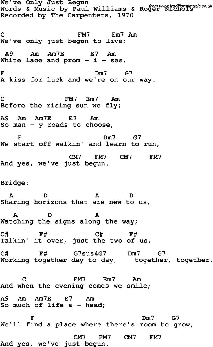 we've only just begun lyrics | Song Lyrics with guitar chords for We've Only…