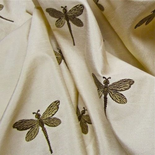 Delightful Arts & Crafts Style Dragonfly Embroidered Faux Silk Fabric for Window Treatments - Perfect for Summer!