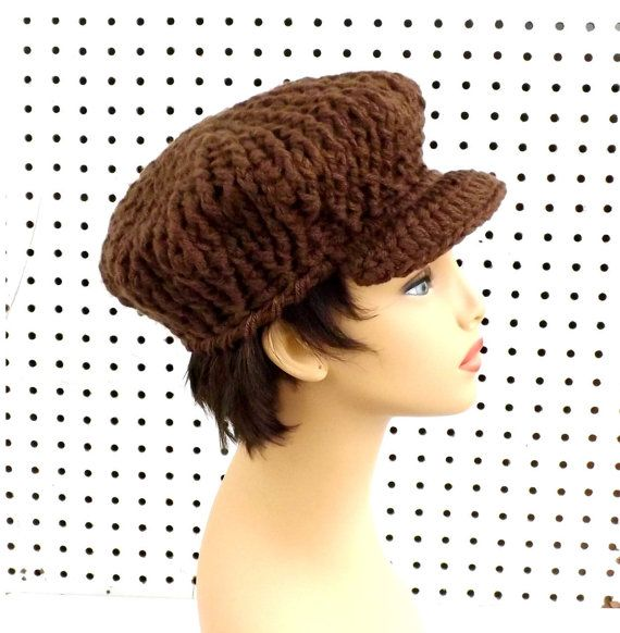 Click #strawberrycouture Crochet Hat Womens Hat Trendy  Womens Crochet Hat  Crochet Newsboy Hat  Brown Hat  CONDUCTRESS  Newsboy Hat Womens  Crochet Hat by strawberrycouture