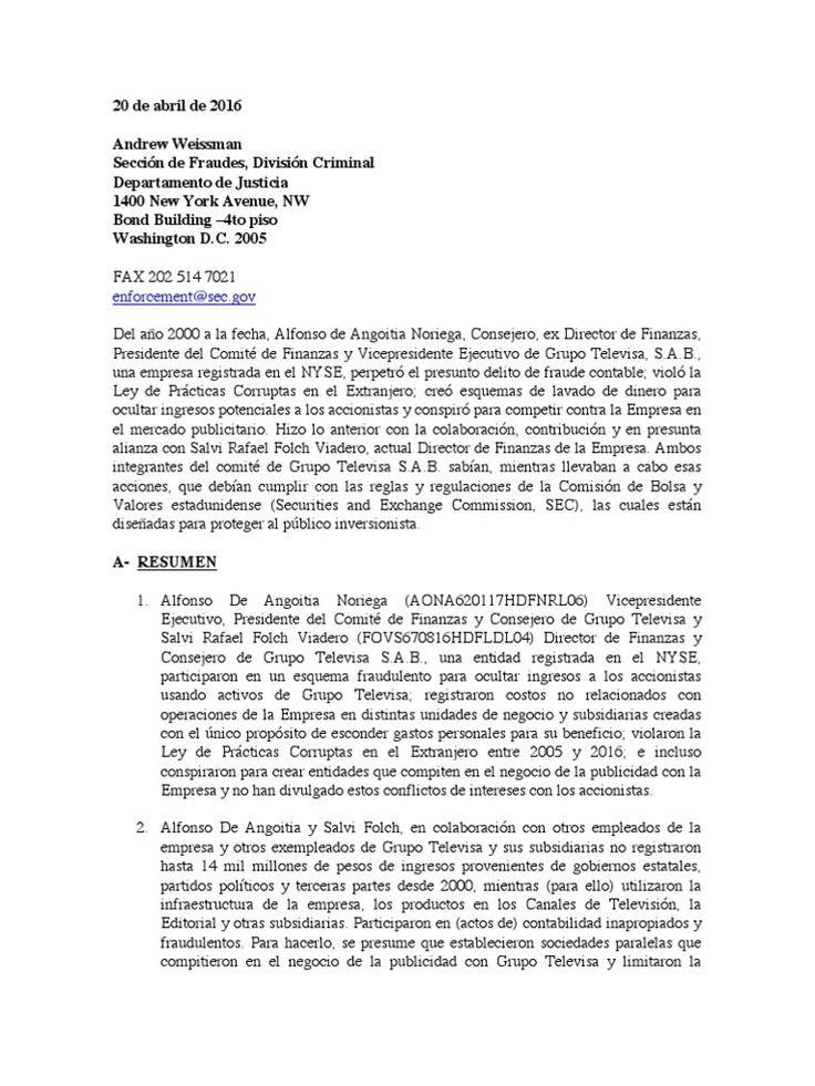 I'm reading El documento íntegro y auténtico sobre las cuentas ocultas de Televisa on Scribd
