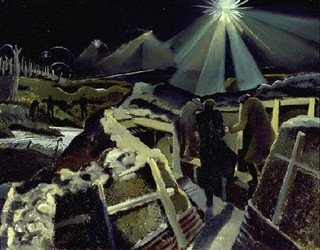 Nash, Paul (1889-1946) - 1917-18 The Ypres Salient at Night (Imperial War Museum, London)    Oil on canvas; 71.1 x 91.4 cm.    Paul Nash, British painter, printmaker, illustrator, and photographer who achieved recognition for the war landscapes he painted during both world wars. Nash studied at the Slade School. Appointed an official war artist by the British government in 1917, he created scenes of war in a semi-abstract landscape manner