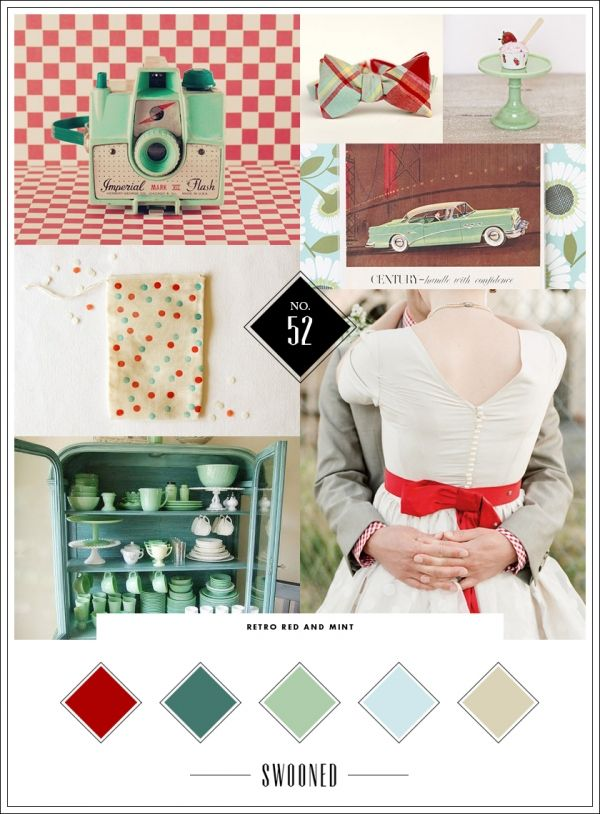 Mood Board #52: Retro Red and Mint <<<< Make it navy instead of red and and that's what I want mine to be.
