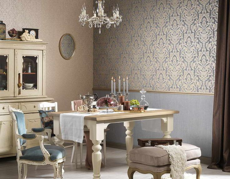 Baroque Wallpaper Designs With Dining Table