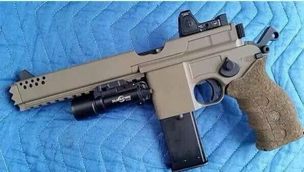 Tactical Mauser M712 - Based on the Marushin made Mauser M712. Equipped with under rail, M4 grip , Shrouded Ported Bull Barrel, Surefire tac light and an RMR Reflex Sight . ( Airsoft Mock Up)  Desired Alts: Glock Magazine compatible, Rear Sight Notch in front of breach for Co Witness. 9mm , .357 Sig and .40 caliber options  with   Barrel  swapping capability.  Neat for target shooting plinking applications
