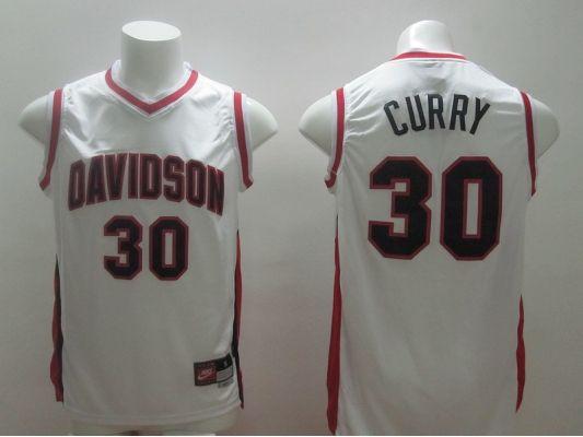 NBA Golden State Warriors 30 Stephen Curry Davidson White Jerseys