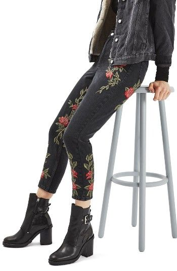 Free shipping and returns on Topshop Mom Rose Embroidered Jeans at Nordstrom.com. Rose embroidery adds a hint of edgy romance to '90s-inspired high-rise tapered jeans in vintage-washed, attitude-heavy black denim.