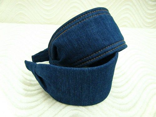 Denim Headband Extra Wide No Slip Fabric Covered Structured Hair Band