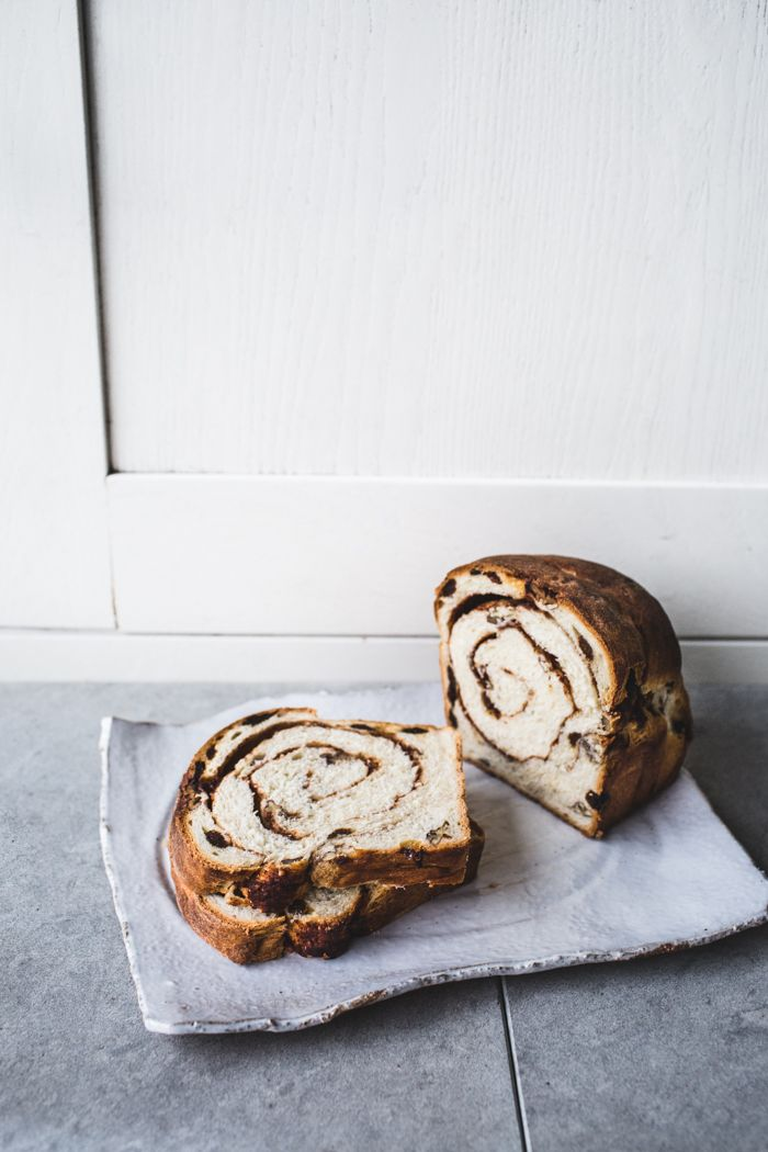 pecan-raisin cinnamon swirl bread • top with cinnamon
