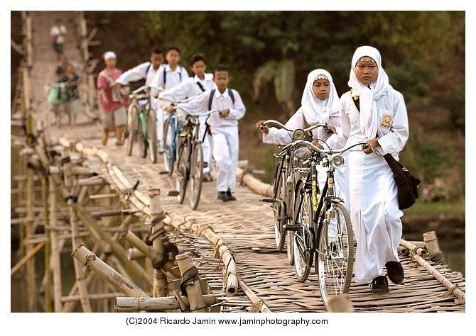 Crossing a bamboo bridge #Yogyakarta, #Java