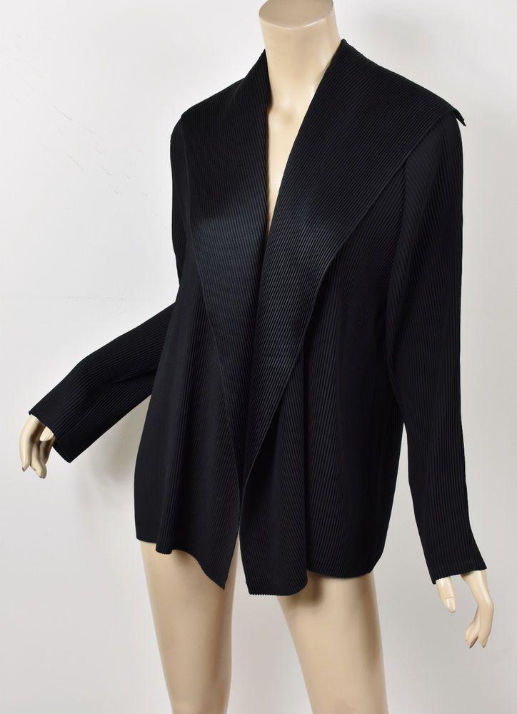 Babette San Francisco Black Pleated Open Front Split Back Collar