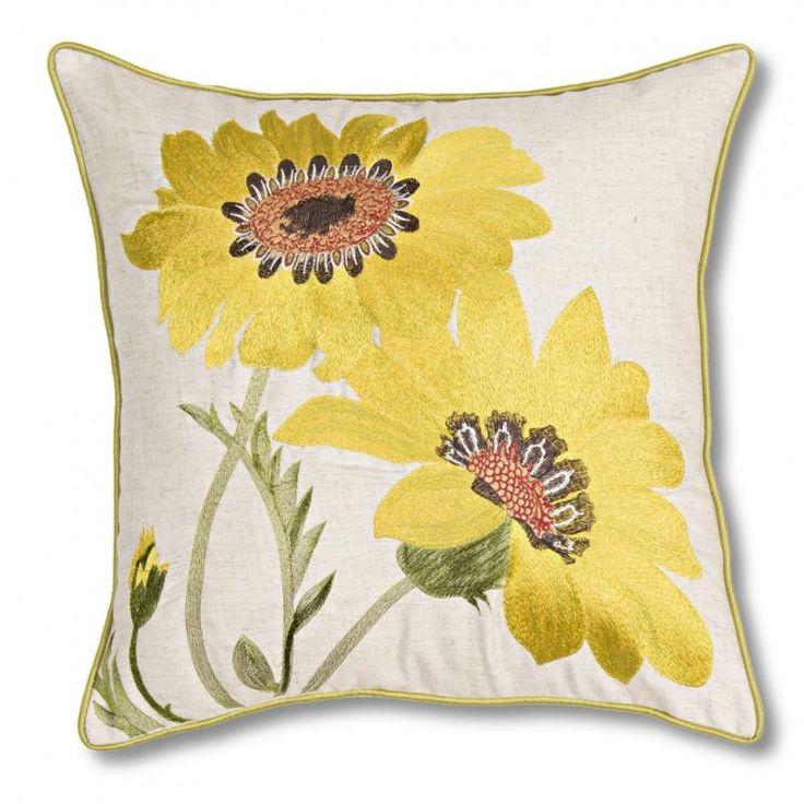 Yellow Gerbera Cushion - Vista Blinds HIGH QUALITY embroidered faux linen cushions. 45cm x 45cm.