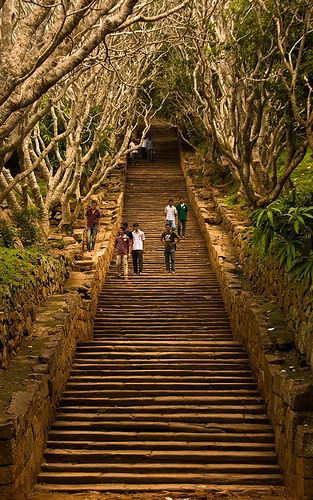 Steps to temple complex in Mihintale, Sri Lanka