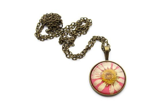 25mm Dried Flower Necklace - Pink Necklace - Dried Flower Jewelry - Pendant Necklace for Women - Antique Bronze Chain Necklace
