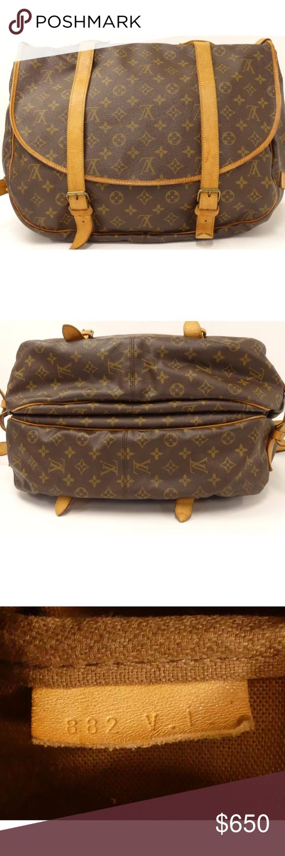 Louis Vuitton Saumur 43 Crossbody Bag Authentic Louis Vuitton Saumur 43 crossbody or  messenger bag with signature Louis Vuitton monogram canvas. Natural vachetta leather finishings & gold toned brass hardware. Adjustable shoulder strap can be used as a cross body bag. Both sides of bag have front strap belt with buckles that open up interior compartments. Great durable bag that is perfect for travelling when you want to keep your hands free. measures: Length: 42cm x Height: 36cm x Depth…