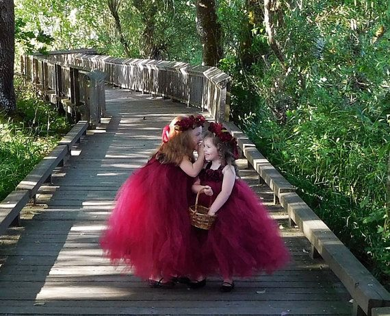 Burgundy Flower Girl Dress, Cranberry Flower Girl Dress, Maroon Flower Girl…