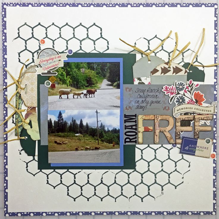 I made this layout using the Chicken Wire Reversed stencil from The Crafter's Workshop along with a bit of modeling paste and Heidi Swapp Color Shine.  It's the perfect background for this layout.