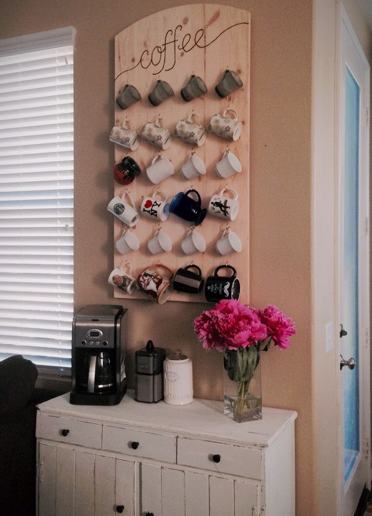 Coffee station with wall mounted mug rack kitchen for Mug racks ideas