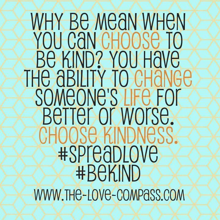 why be mean when you can choose to be kind? you have the ability to change someones like for better or worse. Choose kindness!