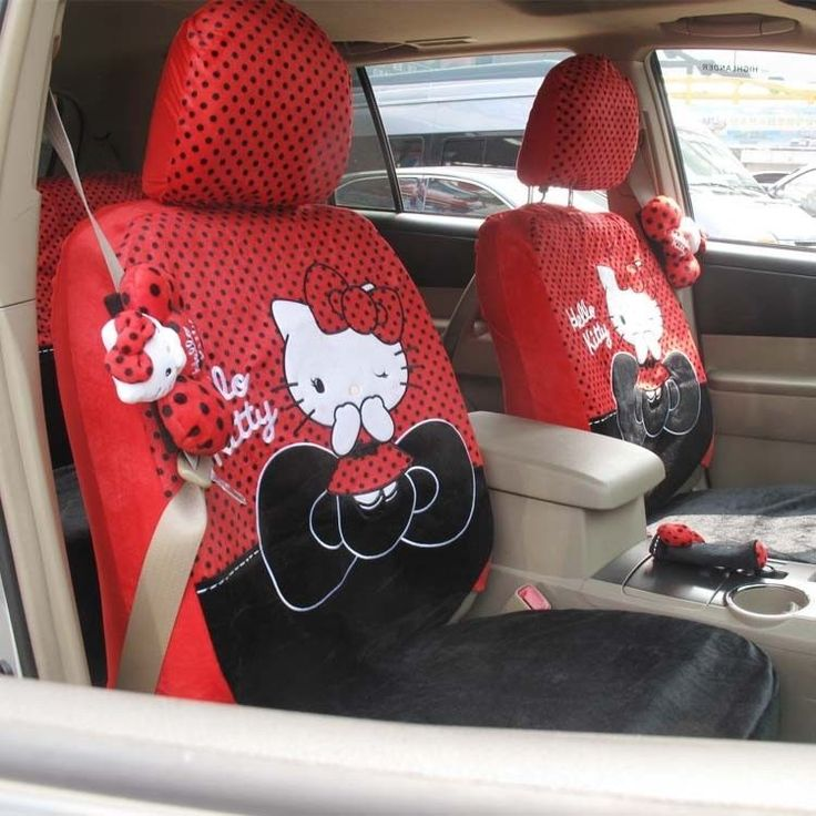 New 10 PCs Hello Kitty UNIVERSAL Bow Red Plush Car Seat Covers Front Rear Cover