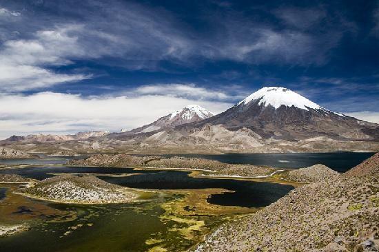 PARQUE NACIONAL LAUCA near Arica, Chile - Parinacota & Pomerape volcano peaks