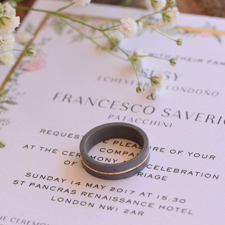 Two parts of titanium combined with gold This wedding band is inspired from the two people who connect their lives with pure love