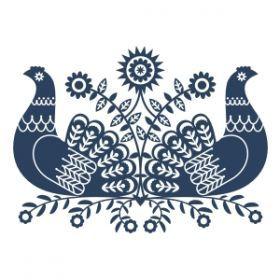 Etno Design :: Naklejki i szablony ludowe :: Skandynawskie kurki dwie naklejka na ścianę/szablon